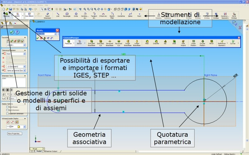 Modellazione CAD in ambiente SolidWorks