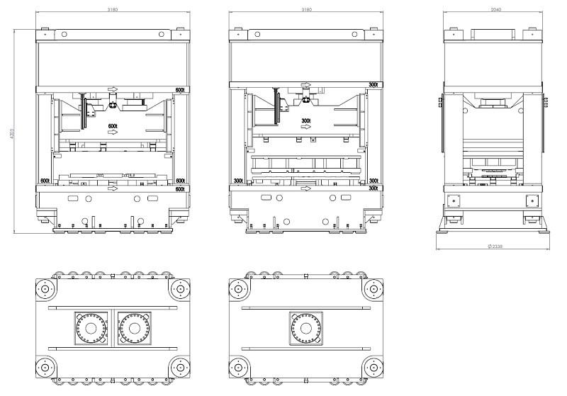 Disegno 2D (DWG, DXF, PDF) di una famiglia di presse