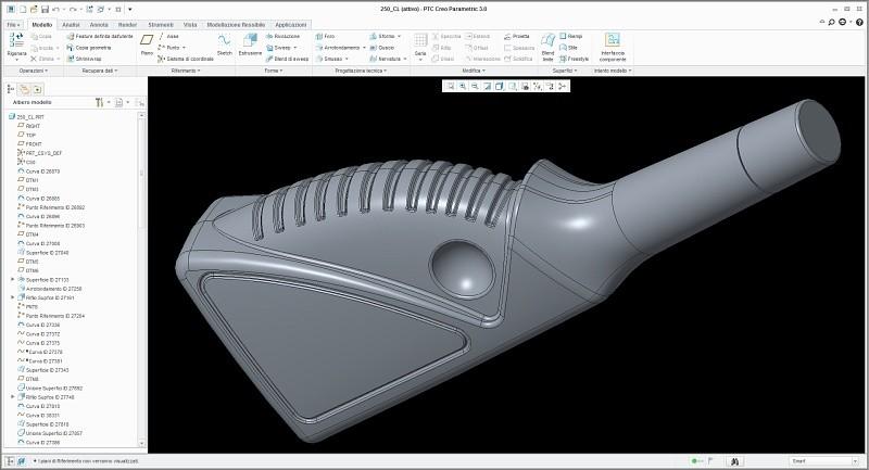 Geometria visualizzata con la versione più recente di ProEngineer - Creo