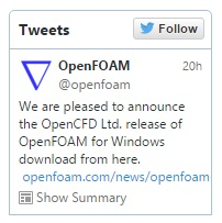 OpenFoam for Windows, l'annuncio su Twitter.
